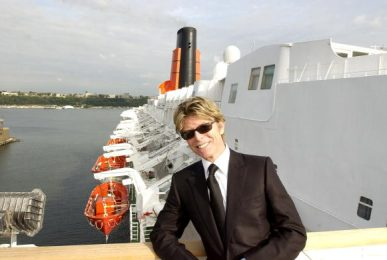 David Bowie during David Bowie disembarks the QE2 in New York City from England. David Bowie will begin his North American tour on the Area2 Music Festival at New York Pier 62 in New York City, New York, United States. (Photo by Theo Wargo/WireImage)